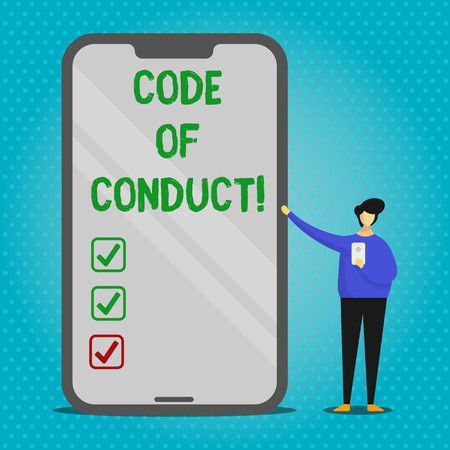 Text sign showing Code Of Conduct. Business photo text Follow principles and standards for business integrity Man Presenting Huge Blank Screen Smartphone while Holding Another Mobile Banco de Imagens