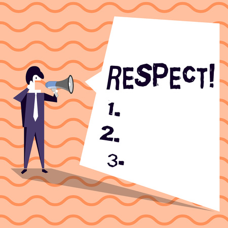 Word writing text Respect. Business photo showcasing Feeling of deep admiration for someone or something Appreciation Businessman Shouting on Megaphone and Blank White Uneven Shape Speech Bubble Stok Fotoğraf - 119510229