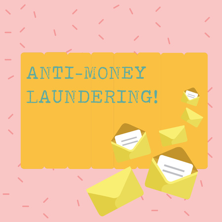 Text sign showing Anti Money Laundering. Business photo showcasing regulations stop generating income through illegal actions Closed and Open Envelopes with Letter Tucked In on Top of Color Stationery
