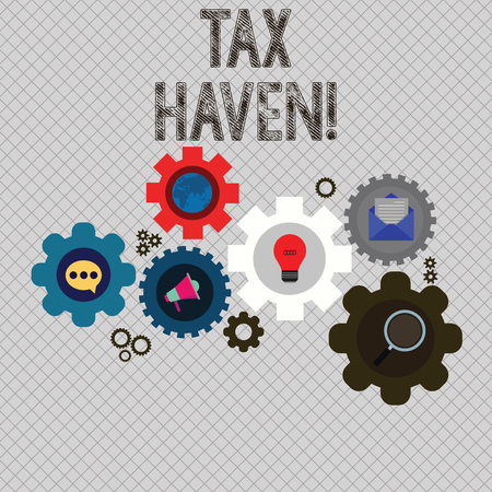Writing note showing Tax Haven. Business concept for country or independent area where taxes are levied at low rate Set of Global Online Social Networking Icons Cog Wheel Gear Imagens
