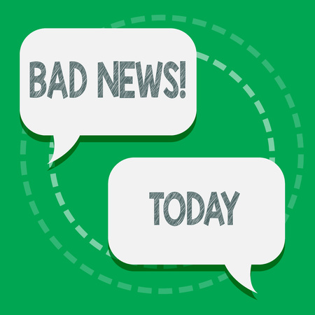 Word writing text Bad News. Business photo showcasing unwelcome thing or demonstrating trouble hust happened to something Two Blank White Speech Balloon Engaging in Conversation on Pastel Backdrop