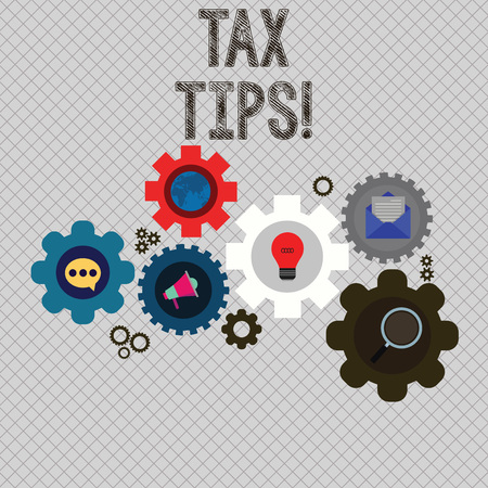 Writing note showing Tax Tips. Business concept for compulsory contribution to state revenue levied by government Set of Global Online Social Networking Icons Cog Wheel Gear