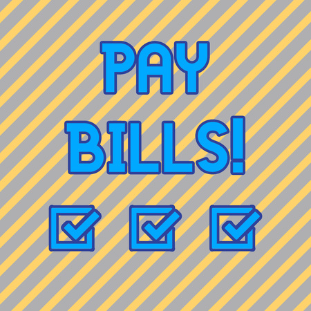 Text sign showing Pay Bills. Business photo text list of expenses to be paid total amount costs or expenses Seamless Diagonal Pattern of Pale Gold and Silver Stripes for Formal Theme