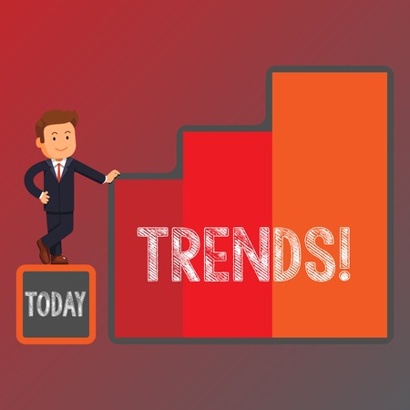 Conceptual hand writing showing Trends. Concept meaning General projected directions of something according to time Businessman Presenting Growth and Success in Graph Columns
