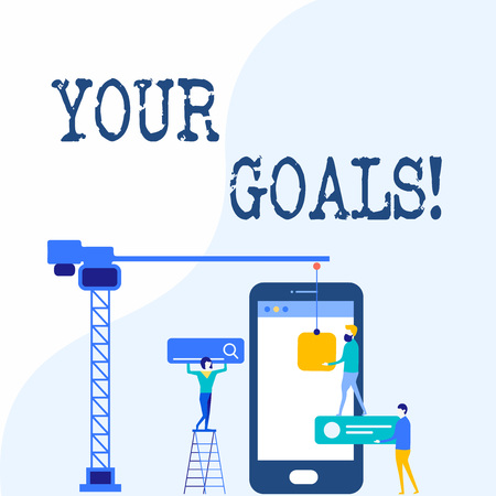 Handwriting text writing Your Goals. Conceptual photo something that you hope to achieve or get in near or far future Staff Working Together for Common Target Goal with SEO Process Icons