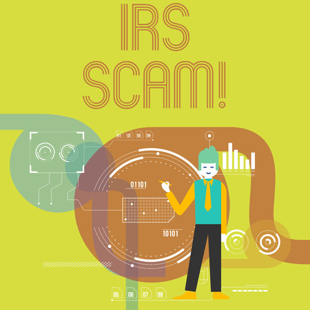 Writing note showing Irs Scam. Business concept for involve scammers targeting taxpayers pretending be Internal Service Man Holding Pen Pointing to Chart Diagram SEO Process Icons Banco de Imagens - 119533301
