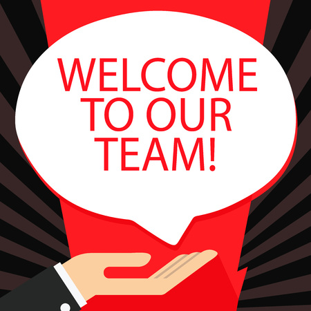 Word writing text Welcome To Our Team. Business photo showcasing introducing another demonstrating to your team mates Palm Up in Supine Position for Donation Hand Sign Icon and Speech Bubble