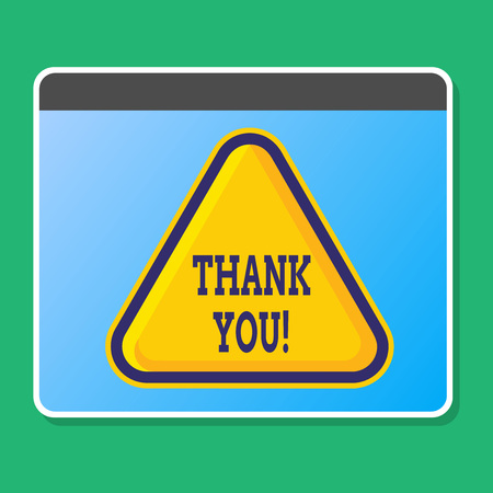 Handwriting text writing Thank You. Conceptual photo polite expression used when acknowledging gift service compliment Blank Yellow Embossed Triangle with Border as Web Button In Tablet Screen Stock Photo