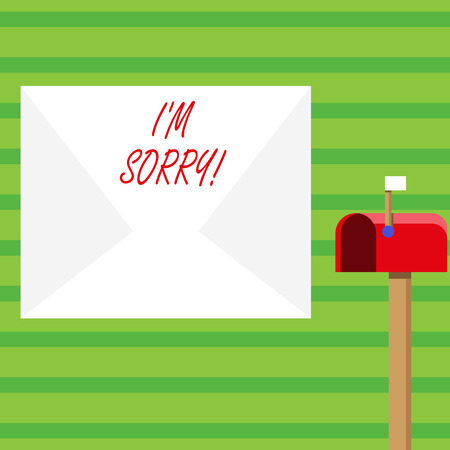 Word writing text I M Sorry. Business photo showcasing telling someone that you are ashamed or unhappy about something Blank Big White Envelope and Open Red Mailbox with Small Flag Up Signalling Stock Photo