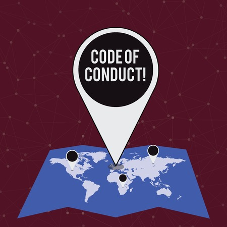 Handwriting text writing Code Of Conduct. Conceptual photo Follow principles and standards for business integrity Colorful Huge Location Marker Pin Pointing to an Area or GPS Address on Map Banque d'images