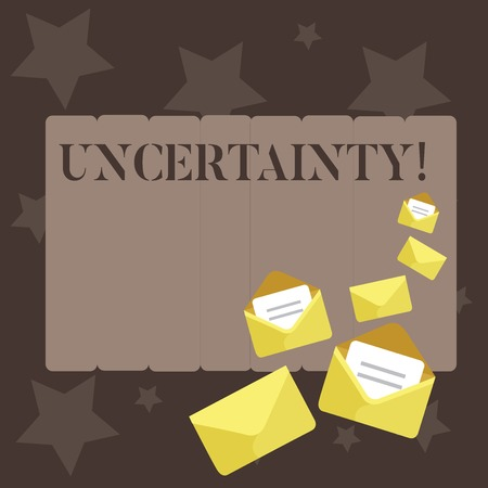 Conceptual hand writing showing Uncertainty. Concept meaning Unpredictability of certain situations events behavior Closed and Open Envelopes with Letter on Color Stationery