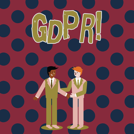 Writing note showing Gdpr. Business concept for General Data Protection Regulation privacy eu laws compliance Businessmen Smiling and Greeting each other by Handshaking