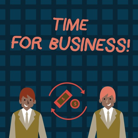 Word writing text Time For Business. Business photo showcasing fulfil transactions within period promised to client Money in Dollar Currency Sign Inside Rotating Arrows Between Two Businessmen Stockfoto