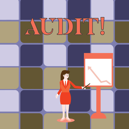 Handwriting text writing Audit. Conceptual photo Local company auditors perform their financial investigation annually Businesswoman Holding Stick Pointing to Chart of Arrow Upward on Whiteboard