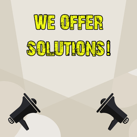 Conceptual hand writing showing We Offer Solutions. Concept meaning way to solve problem or deal with difficult situation Blank Spotlight Crisscrossing Upward Megaphones on the Floor 写真素材