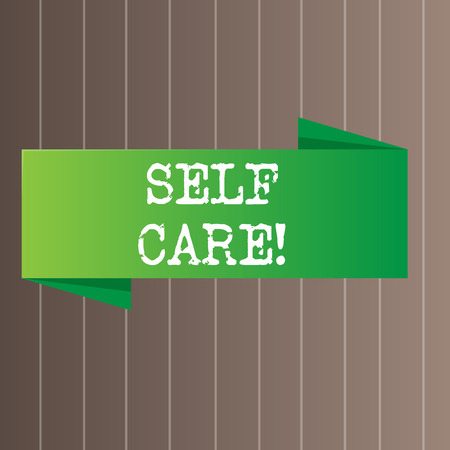 Text sign showing Self Care. Business photo text practice of taking action preserve or improve ones own health Blank Folded Color Banner photo on Vertically Striped Two Toned Backdrop