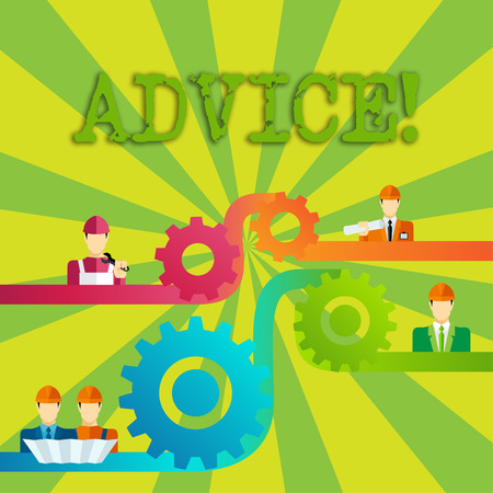 Word writing text Advice. Business photo showcasing Learn to be good at advicing showing, businesses Cog Gear Setting Icon Connecting Men from Different Professional Character
