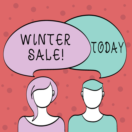 Word writing text Winter Sale. Business photo showcasing occasion when shop sells things at less than their normal price Blank Faces of Male and Female with Colorful Blank Speech Bubble Overlaying