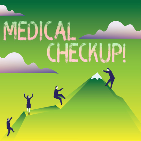 Word writing text Medical Checkup. Business photo showcasing thorough physical examination includes variety of tests Business People Climbing Color Mountain by Themselves Holding Invisible Rope