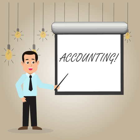 Writing note showing Accounting. Business concept for Account inner voice motivate yourself Man in Necktie Holding Stick Pointing White Screen on Wall