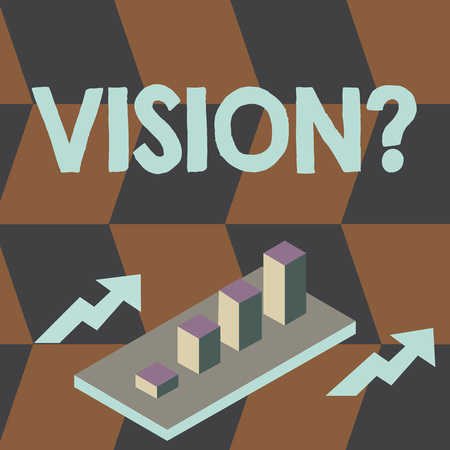 Writing note showing Visionquestion. Business concept for Company commitment describing future realistic state Clustered 3D Bar Chart Graph in Perspective with Two Arrows