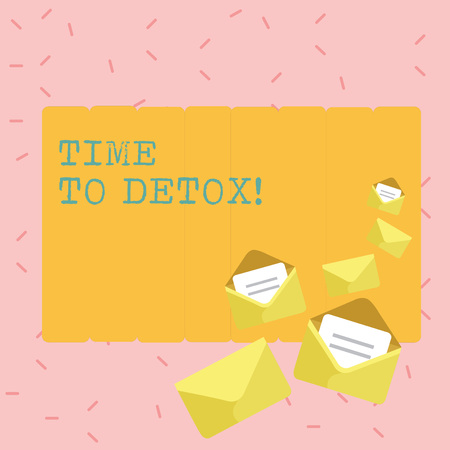 Text sign showing Time To Detox. Business photo showcasing when you purify your body of toxins or stop consuming drug Closed and Open Envelopes with Letter Tucked In on Top of Color Stationery