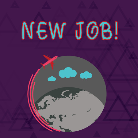 Writing note showing New Job. Business concept for recently having paid position regular employment with specific tasks Airplane Flying Around Colorful Globe and Blank Text Space