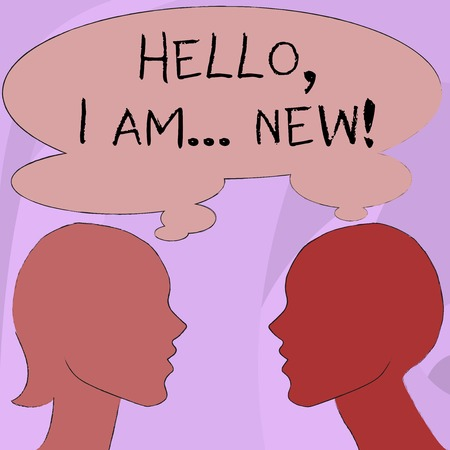 Text sign showing Hello I Am New. Business photo showcasing used greeting or begin telephone conversation Silhouette Sideview Profile Image of Man and Woman with Shared Thought Bubble