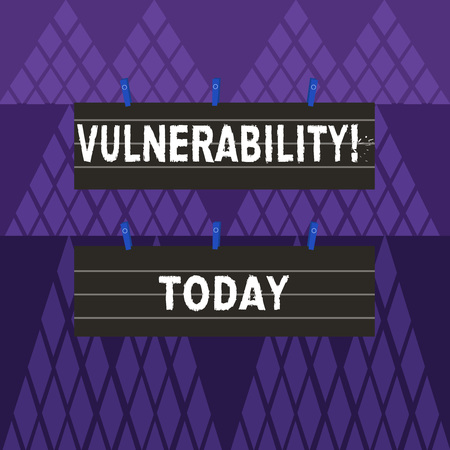 Text sign showing Vulnerability. Business photo showcasing Information susceptibility systems bug exploitation attacker Two Color Blank Strip Size Lined Paper Sheet Hanging Using Blue Clothespin