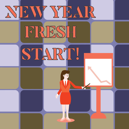 Handwriting text writing New Year Fresh Start. Conceptual photo Time to follow resolutions reach out dream job Businesswoman Holding Stick Pointing to Chart of Arrow Upward on Whiteboard Stock Photo