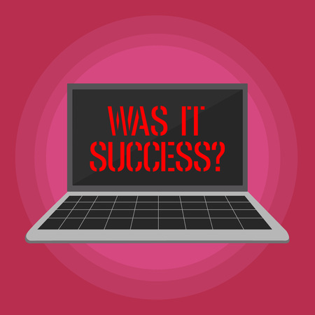 Text sign showing Was It Successquestion. Business photo text Happy feeling after achieving success in life Laptop with Grid Design Keyboard and Blank Black Screen on Pastel Backdrop 스톡 콘텐츠