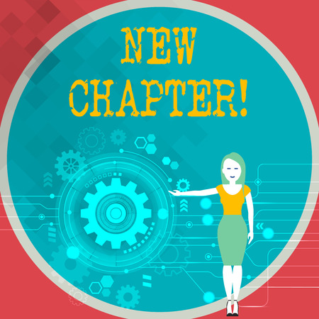 Text sign showing New Chapter. Business photo showcasing Starting ultimately something goals created in your mind Woman Standing and Presenting the SEO Process with Cog Wheel Gear inside