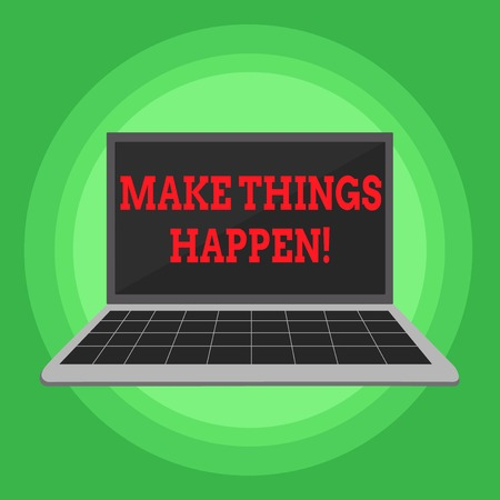 Writing note showing Make Things Happen. Business concept for you will have to make hard efforts in order to achieve it Laptop with Grid Design Keyboard Screen on Pastel Backdrop