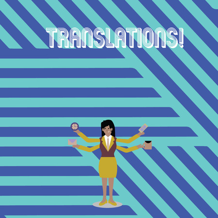 Text sign showing Translations. Business photo text Written or printed process of translating words text voice Businesswoman with Four Arms Extending Sideways Holding Workers Needed Item Imagens