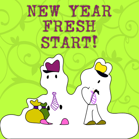 Conceptual hand writing showing New Year Fresh Start. Concept meaning Time to follow resolutions reach out dream job Figure of Two Men Standing with Pouch Bag White Snow Effect