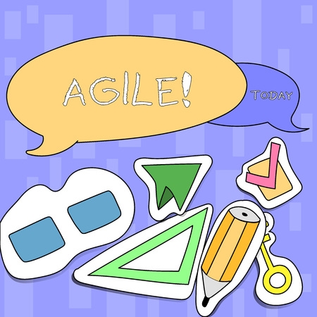 Handwriting text writing Agile. Conceptual photo Develop an agility towards technological chnage Two Blank Colorful Speech Balloon and Different Labels Sticker Style Icons 写真素材