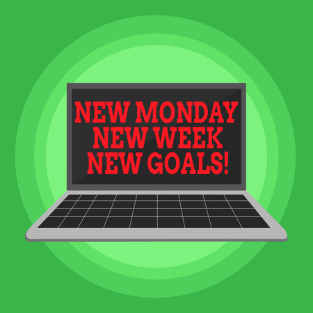 Writing note showing New Monday New Week New Goals. Business concept for goodbye weekend starting fresh goals targets Laptop with Grid Design Keyboard Screen on Pastel Backdrop
