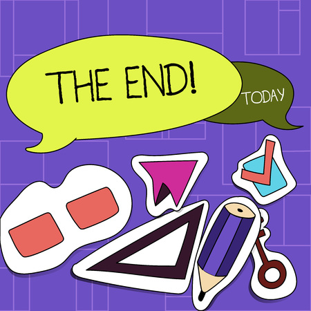 Handwriting text The End. Conceptual photo Conclusion of time for something ending of life Two Blank Colorful Speech Balloon and Different Labels Sticker Style Icons