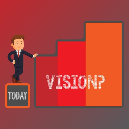 Conceptual hand writing showing Visionquestion. Concept meaning Company commitment describing future realistic state Businessman Presenting Growth and Success in Graph Columns