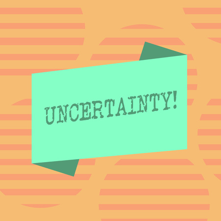 Word writing text Uncertainty. Business photo showcasing Unpredictability of certain situations events behavior Blank Color Folded Banner Strip Flat Style photo for Announcement Poster Stock Photo