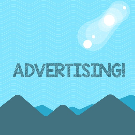 Text sign showing Advertising. Business photo text Reach out world branding with digital marketing optimization View of Colorful Mountains and Hills with Lunar and Solar Eclipse Happening