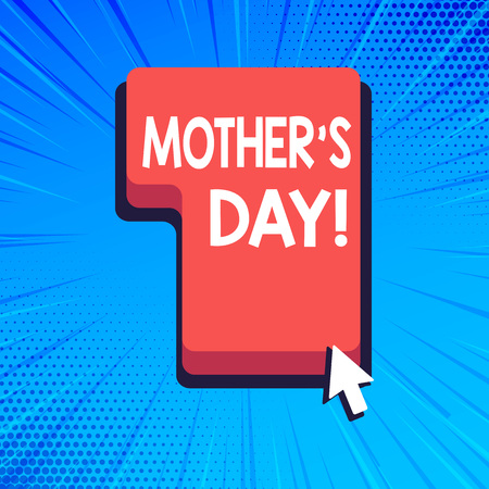 Writing note showing Mother S Day. Business concept for day of year where mothers are particularly honoured by children Direction to Press or Click Command Key with Arrow Cursor Banco de Imagens