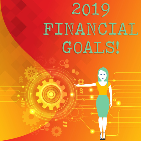 Word writing text 2019 Financial Goals. Business photo showcasing New business strategy earn more profits less investment Woman Standing and Presenting the SEO Process with Cog Wheel Gear inside