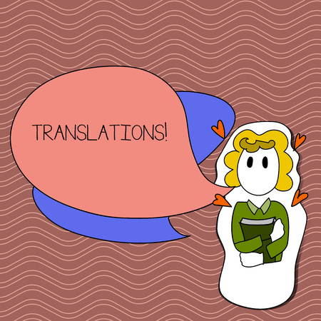 Word writing text Translations. Business photo showcasing Written or printed process of translating words text voice Girl Holding Book with Small Hearts Around her and Two Color Speech Bubble