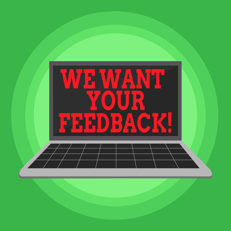 Writing note showing We Want Your Feedback. Business concept for criticism given someone say can be done for improvement Laptop with Grid Design Keyboard Screen on Pastel Backdrop