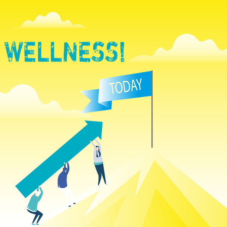Handwriting text Wellness. Conceptual photo Making healthy choices complete mental physical relaxation People Holding Arrow Going Up the Mountain. Blank Banner on Pole at the Peak Banco de Imagens
