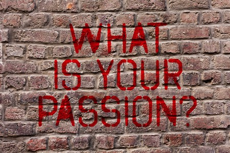 Writing note showing What Is Your Passion Question. Business concept for asking about his strong and barely controllable emotion Brick Wall art like Graffiti motivational call written on the wall