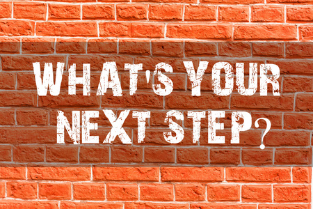 Writing note showing What S Your Next Stepquestion. Business concept for Analyse ask yourself before taking decisions Brick Wall art like Graffiti motivational call written on the wall