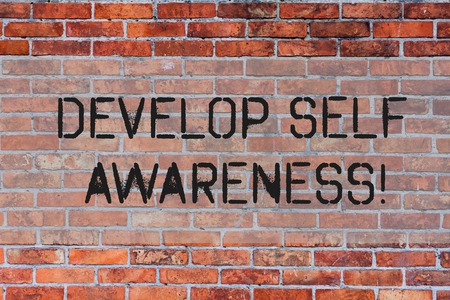 Handwriting text Develop Self Awareness. Conceptual photo What you think you become motivate and grow Brick Wall art like Graffiti motivational call written on the wall