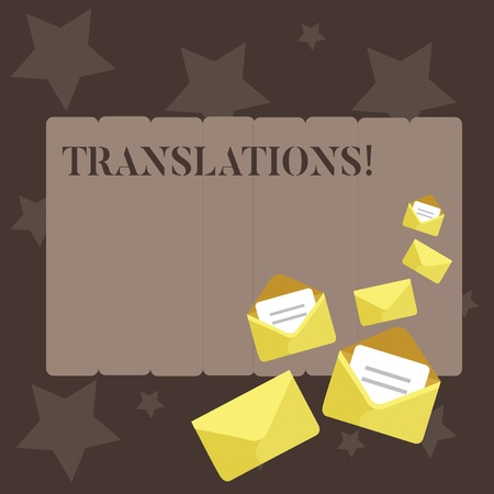 Conceptual hand writing showing Translations. Concept meaning Written or printed process of translating words text voice Closed and Open Envelopes with Letter on Color Stationery Imagens
